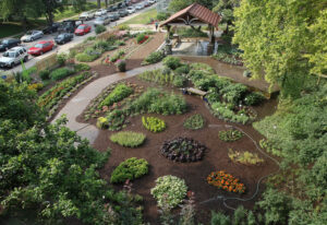 Overhead view of Horticulture Garden from 2nd Floor of the Horticulture Building