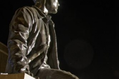 A bronze sculpure of the first man to walk on the moon, Neil Armstrong, who is an alumnus Purdue.